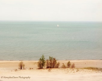 Sailboat at Beach Lake Michigan from Indiana Dunes National Lakeshore Fine Art Landscape Photography