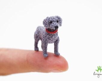 Tiny crochet dollhouse miniature weimaraner, micro amigurumi weimaraner, micro stuffed dog