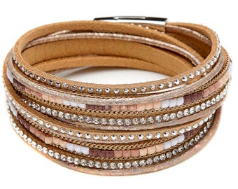 Brown, Leather, Crystal Wrap Bracelet/ Choker