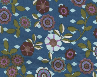 Fabric cotton flowers in shades of purple on teal background