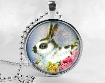 RABBIT Necklace, Rabbit Pendant, Rabbit Jewelry, Rabbit Charm, Photo Art Glass Necklace Pendant Charm, Easter