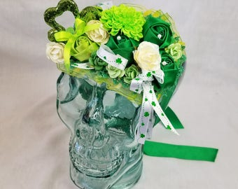 Fancy Decorated OOAK Bonnet Hat for Saint Patrick's Day ~  Will Fit Large Dolls, Children or Adults (As a Fascinator)