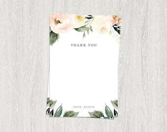 Floral Thank You Card | 4x6 Flat Thank You Card | Digital File