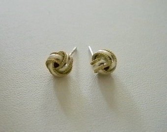 Sterling Silver Twisted Post Pierced Earrings  - Gold Tone Accents