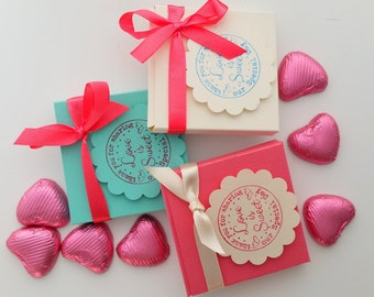 20 wedding favours, Coral mint and cream favours, favor boxes, bridal party gifts, hen party favours, bridal shower favours