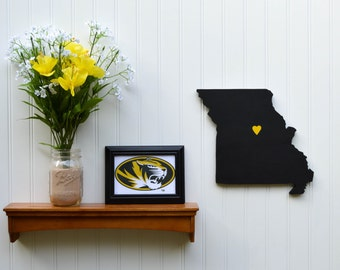 """Missouri Tigers """"State Heart"""" wall art, handcrafted wood with official team colors"""