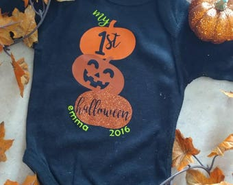 My 1st Halloween/ Vinyl Onesie / Baby Creeper / Personalized / Decorated / Baby Girl/ Baby Boy
