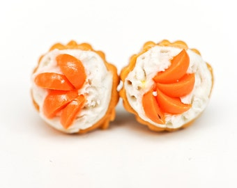 Cupcakes with peach fruit topping & cream stud earrings - food jewelry - cupcake earrings /  studs - kawaii earrings - dessert earrings