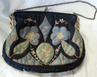 Purse, charming fabric painted and embroidered purse with metal ball clasp frame and chain handle