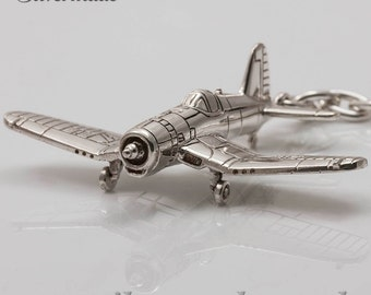 Silver KeyRing airplane F4U-Corsair