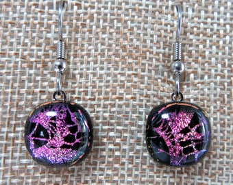 Pink Lace Earrings, Drop Earrings, Dichroic Glass Earrings, French Hooks, Dangle Earrings, Handmade Jewelry, Fused Glass Earrings, Gift
