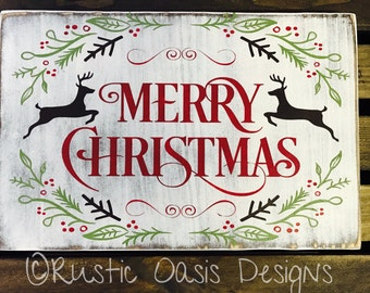 Merry Christmas Sign | Christmas Sign | Christmas Decor | Wood Sign