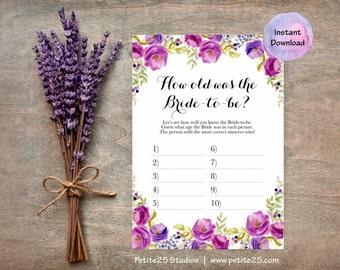 Instant Download- How old is the Bride, Wedding shower game, bridal shower game, shower bingo custom, purple lavender flowers, spring