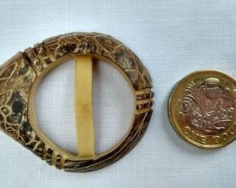 1930s BELT BUCKLE, Tagua nut, vegetable ivory, vintage SCARF ring, scarf slide, scarf buckle, slider buckle