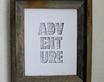 Adventure Map Print. Shadowbox. 3D. Wall Art. Home Decor.
