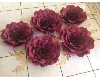 Set of 5 Roses with detailed centers