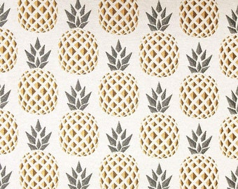 Fabric pineapple yellow and grey jacquard - fruit fabric - cotton fabric and polyester - Nadège fabrics - 1/2 meter