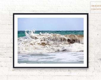 Beach Wall Art Print, Coastal Photography, Ocean Water Waves, Printable Digital Download, Minimalist Beach, Large Wall Art