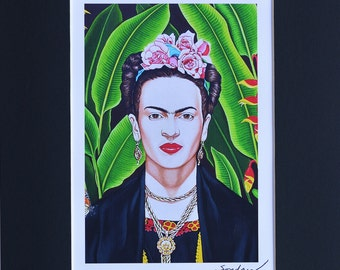 Frida Kahlo Fine Art  Matted Print by Joseph Sonday