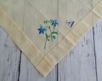 Vintage Yellow Hankie Handkerchief, Soft Yellow, Blue and Green Flower Embroidery,  Unused, Hermann Label, 12 Inch Square, Wedding Hankie