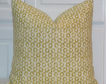 DOUBLE SIDED - Decorative Pillow Cover - Citron and Cream - Accent Pillow - Sofa Pillow - Toss Pillow - Thom Felicia for Kravet