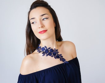 Navy Blue Lace Necklace Statement Necklace Jewelry Gold Necklace Girlfriend Gift Mom Gift For Her/ LANARA