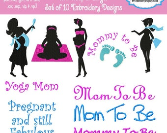 Pregnant Mom and Sayings Silhouette Shadows Machine Embroidery Designs - Set of 10 Instant Download Sale