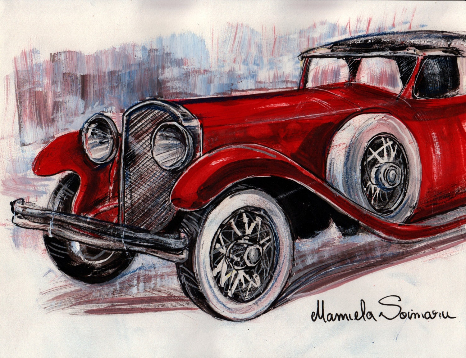 Downton Abbey Drawing Classic Car 1910s Car Vintage Car