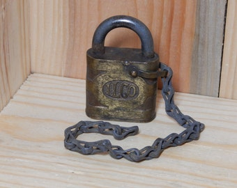 Vintage Lock by ILCO, PadLock With Chain, Antique Lock, Old Lock