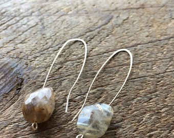 Balance - Rutilated Quartz and Sterling Silver Open Hoop Earrings