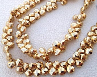 Brand New, GOLDEN PYRITE Micro Faceted Heart, 6mm,Full 7 Inch Strand,Amazing Quality,Finest Item