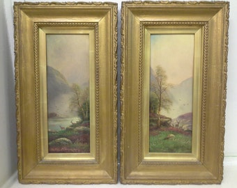 N H Christiansen: pair of landscapes; oil on board