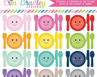 80% OFF SALE Kawaii Place Setting Clipart Dinner or Meal Planner Clip Art Graphics Personal & Commercial Use OK