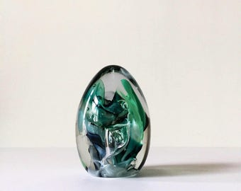 Vintage Glass Egg Paperweight