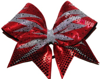 Cheer Lightening Bolt Rhinestone Allstar Bow by FunBows !!! BLING !