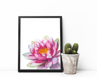 Lotus print art, Lotus Flower painting, yoga studio decor, floral wall art, Housewarming Gift, Yoga art, lotus drawing, pink flower painting