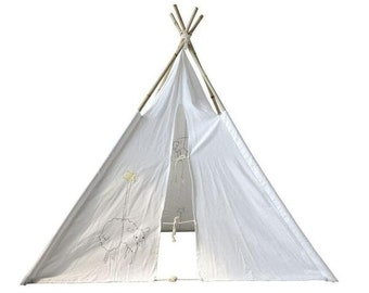 Canvas Teepee with Embroidered Sheep and Bamboo Poles, Great for Children Playroom