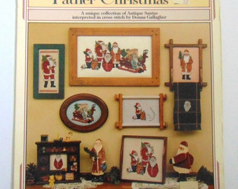 "Counted Cross Stitch pattern leaflet ""Father Christmas"" Santas 1988"