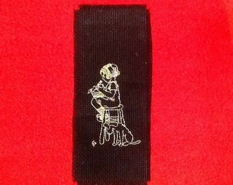 Black bookmark embroidered girl and her dog