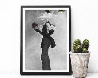 "Cloud art print, woman silhouette art, black and white print, elephant decor, vintage collage, bubble print, retro woman poster - ""Fragile""."