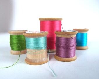 5 Vintage Wood Spools with Cotton Thread