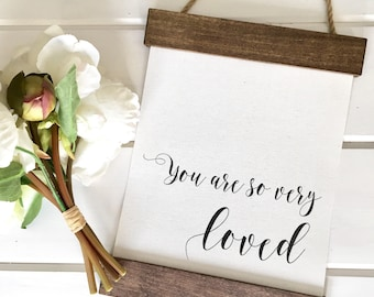 Cotton Canvas Banner Framed Print | You Are So Very Loved | Farmhouse | Nursery Decor | Home Decor Gift | New Baby Gift | Wall Art