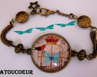 Bracelet/ Cabochon/ Verre/Métal Bronze/Ajustable,Oiseau Roi,Romantique.