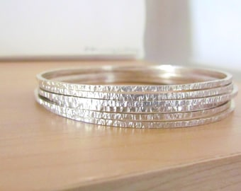 Sterling Silver Handmade Bangle Bracelets Set of Three Textured Design Minimalist Bracelet