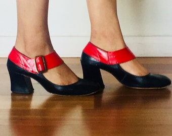60s Mary Janes Two Tone Black Red Chunky Heels Round Toe Size 6 6.5 1/2 36 37 M by Fascinators