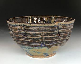 Stoneware bowl rutile blue