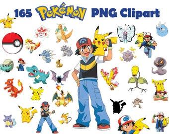 INSTANT DL- 160 PNG Pokemon Clipart - printable Digital Clipart Graphic pikachu Pokemon go Instant Download