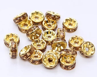 Set of 10 bead spacer Gold 8 MM Crystal rhinestones.