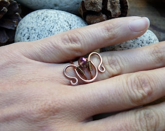 Copper Aries ring. Copper ring with zodiac sign. Aries zodiac sign ring. Gift for her.