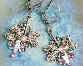 Dragonfly Earrings, Dragonfly Jewellery, Dragonfly Gifts, Pink Earrings, Dainty Earrings, Insect Earrings, Insect Jewellery